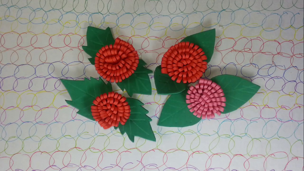 Flower Craft - Flowers and Leaves out of Foam Sheets - YouTube