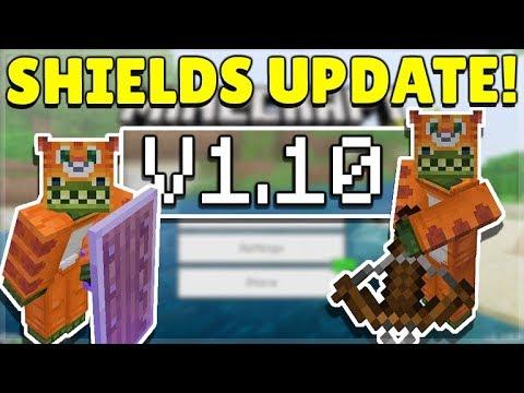 MINECRAFT PE/BEDROCK 1.10 SHIELDS UPDATE! - Shields OFFICIALLY Released!