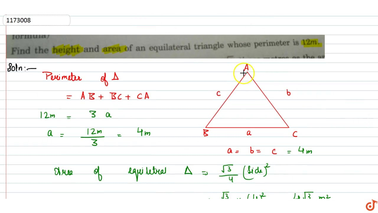 Find the height and area of an equilateral triangle whose perimeter is 16m