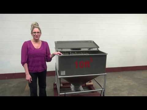 10ft³ Stainless Steel Hinged Top Bulk Feed Hopper Demonstration