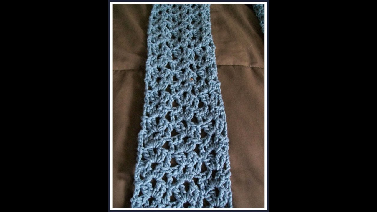 Easy Crochet Shawl Patterns Beginners : Easy Crochet Lacy Shell Scarf Pattern - YouTube