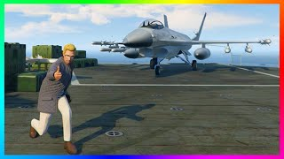 GTA ONLINE AIRCRAFT CARRIER FREE MODE EXPLORATION, UNLIMITED FIGHTER JETS & SECRET SPOTS! (GTA 5)