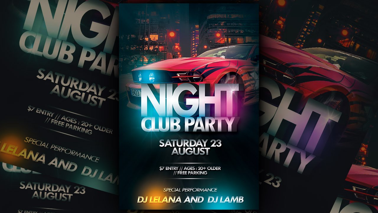 Nightclub Party Flyer Photoshop Tutorial YouTube – Night Club Flyer