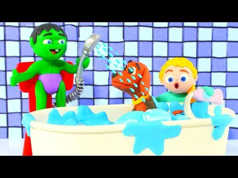 SUPERHERO BABIES BATH THE DOGGY 鉂� SUPERHERO BABIES PLAY DOH CARTOONS FOR KIDS