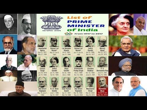 List of Prime Ministers of India - भारत के प्रधान मंत्रियों की सूची -  (1947 से 2017 तक)