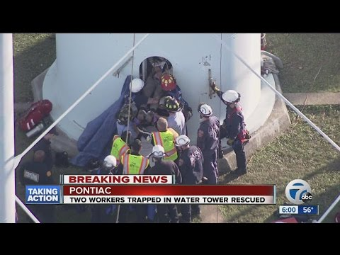 Crews rescue workers trapped inside Pontiac water tower
