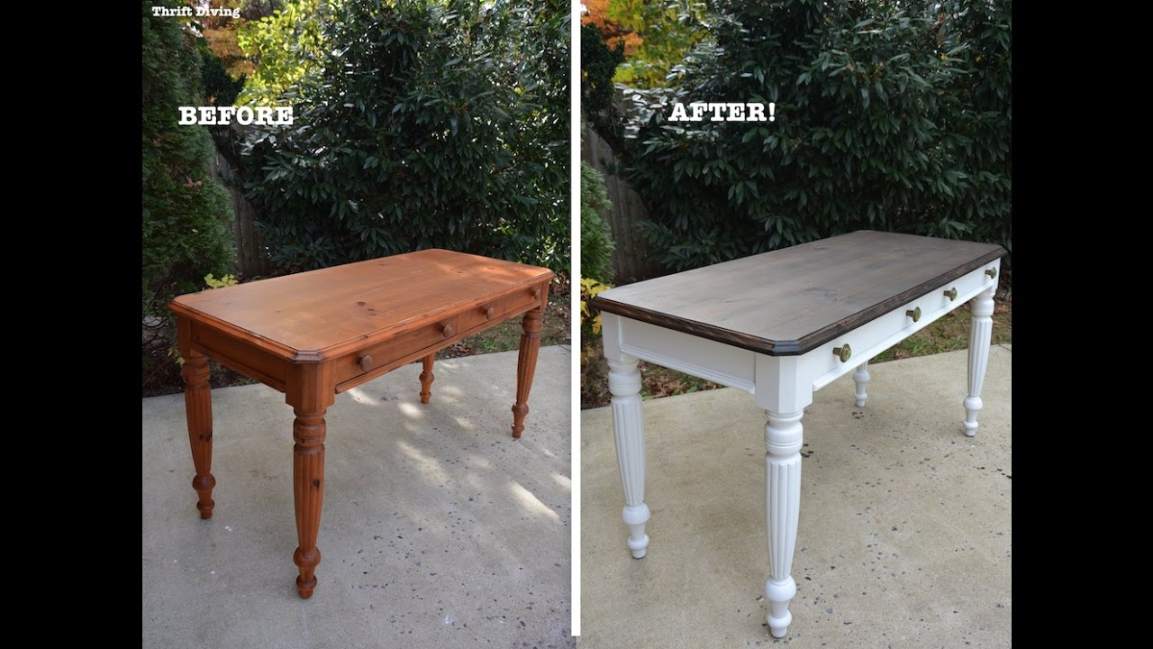 painted tables and chairs chair rail moulding a 1980 s diy desk makeover using beyond paint stain thrift diving youtube