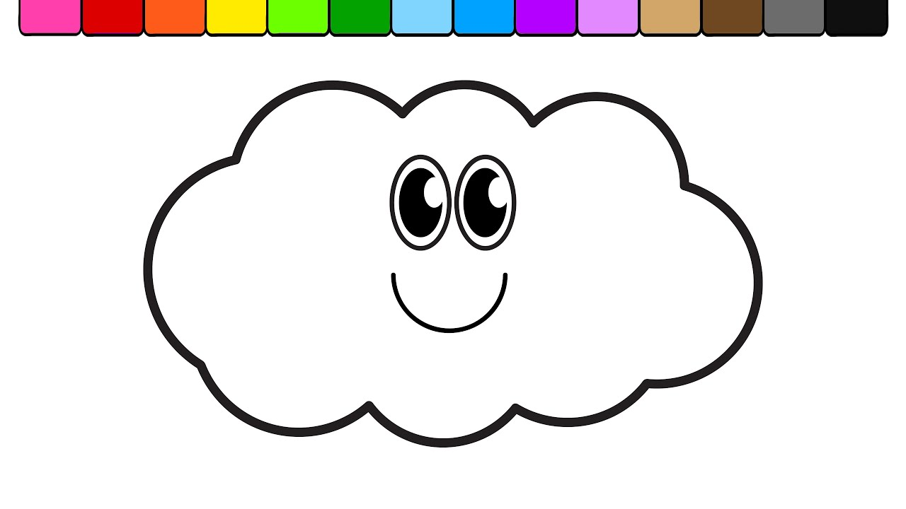 learn colors for kids and color smiley face cloud rainbow coloring page