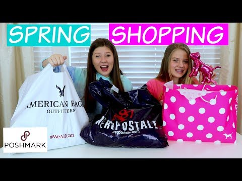 SPRING SHOPPING HAUL || PINK, AMERICAN EAGLE, AEROPOSTALE, POSHMARK || Taylor And Vanessa