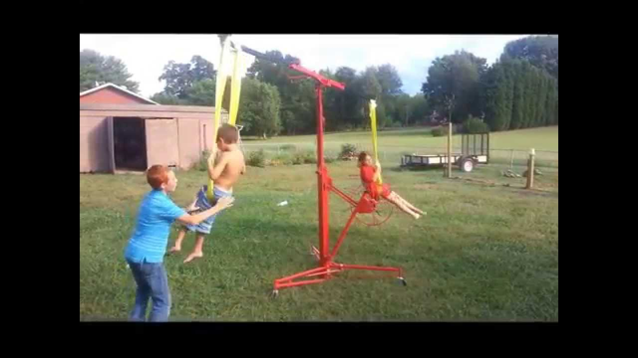 Easy DIY Childrenu0027s Backyard Carnival Swing Ride   YouTube