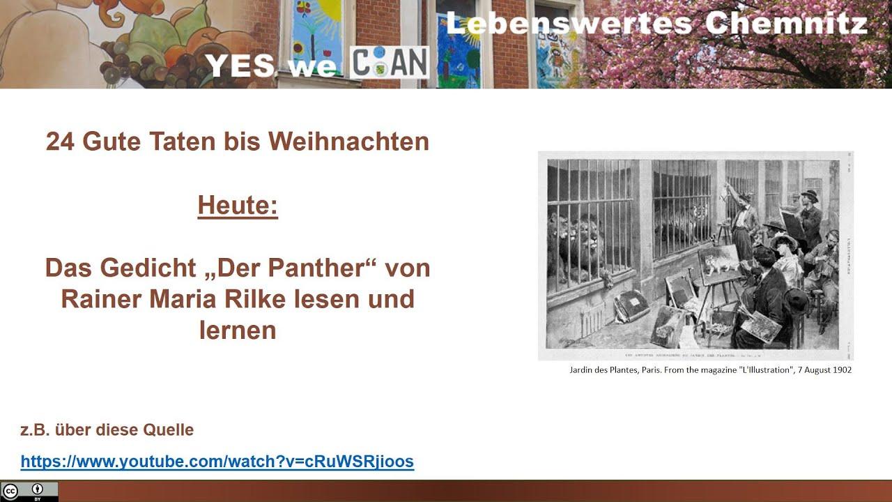 Gedicht Der Panther Von Rilke Lernen Und Vortragen 24 Gute Taten Bis Weihnachten