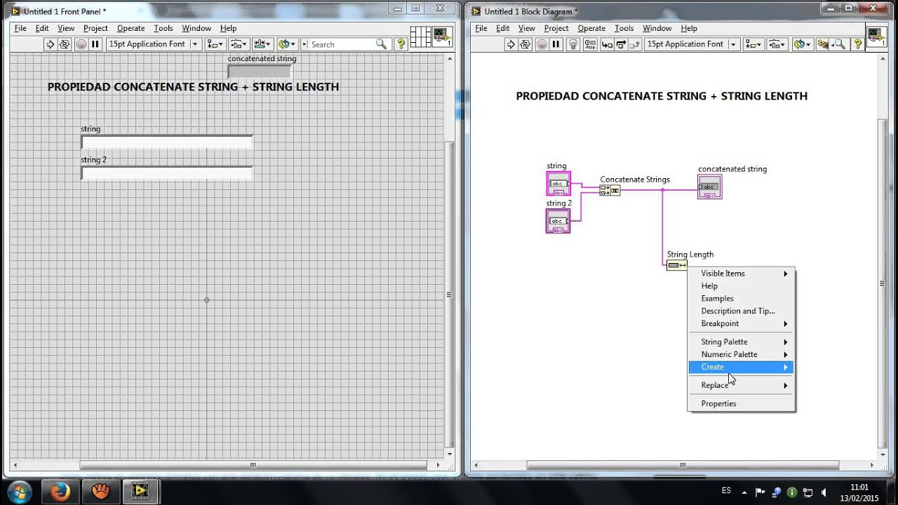 Concatenate String+String Length LabView