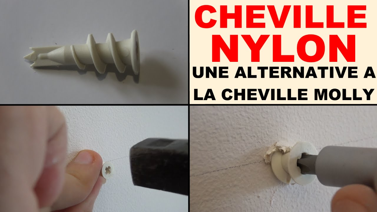 Cheville nylon visser une alternative la cheville molly mur en plaque de platre youtube - Cheville molly charge lourde ...