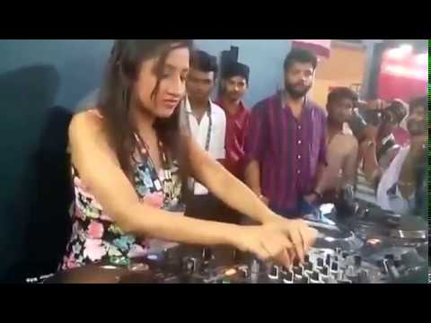 Girl playing dj