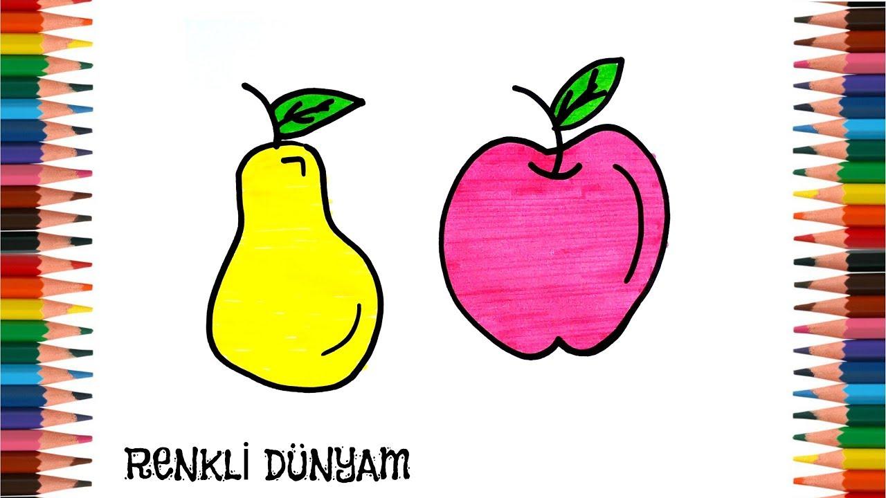 Meyve Nasıl çizilir Elma Ve Armut çizimi How To Draw Fruit