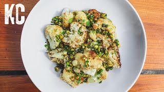Pan Roasted Cauliflower Recipe | With Brown Butter, Capers and Pistachio Gremolata