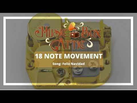 Feliz Navidad  Music Box Attic 18 Note Mechanical Movement