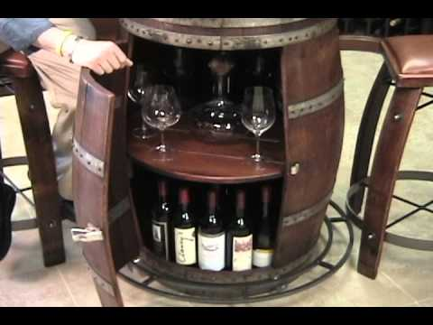 Vintage Oak Wine Barrel Bistro Table - YouTube