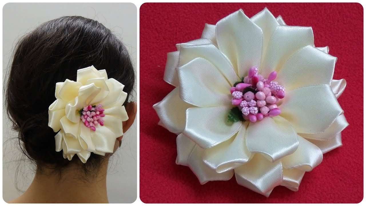 Diy Kanzashi Flowerwedding Hair AccessoireEasy Kanzashi