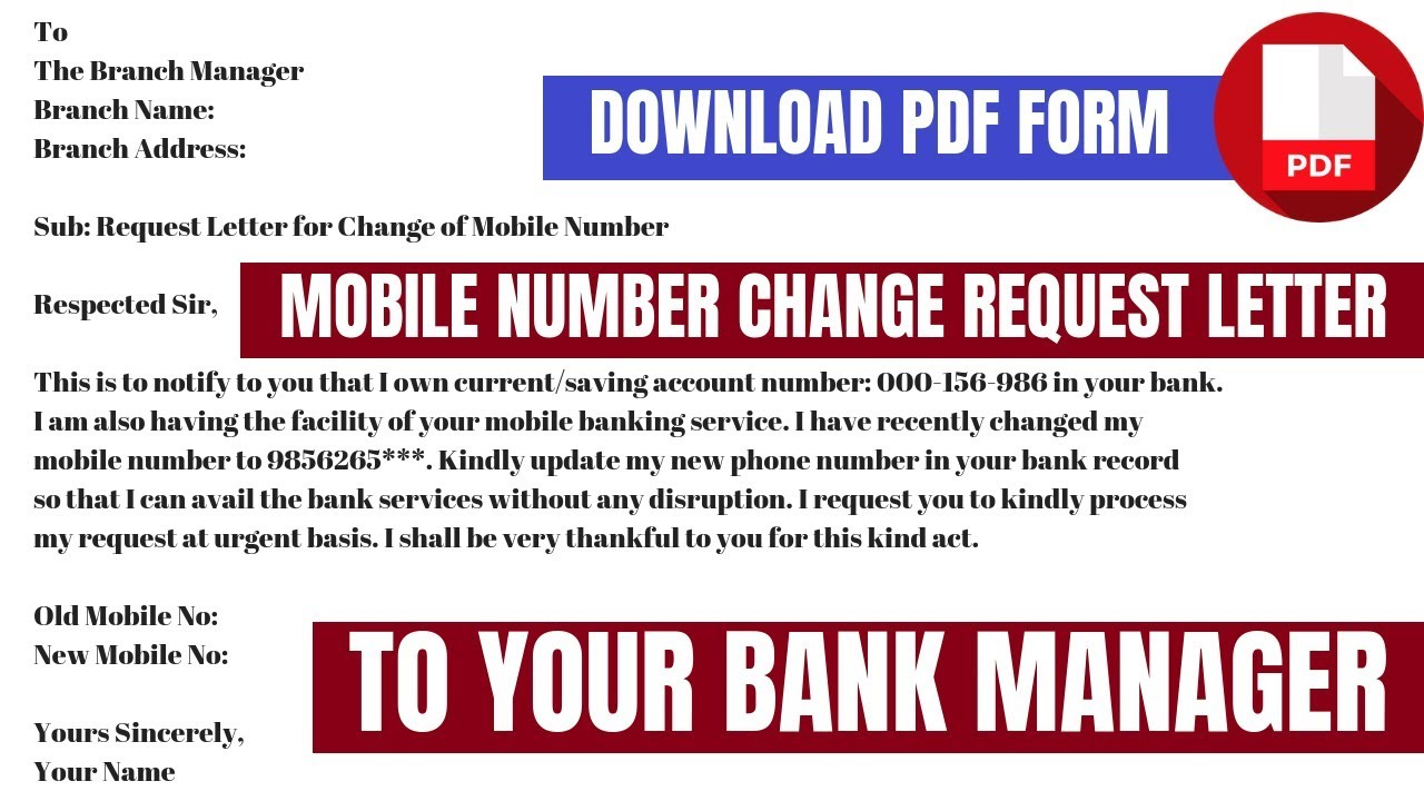 Rbl Bank Mobile Number Change Request Letter