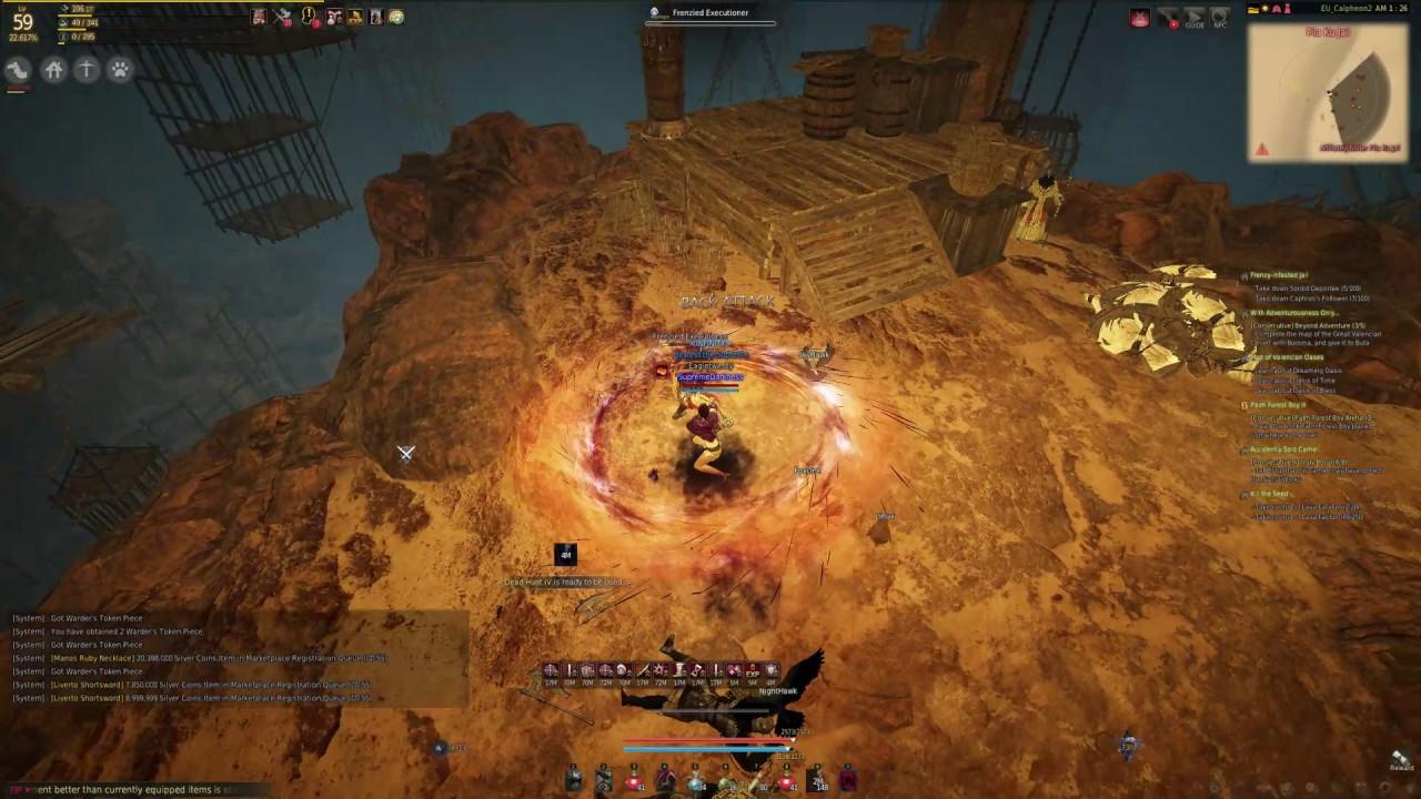 BLACK DESERT EU - Sorceress 59 200+ AP, low DP - Pila Ku Jail dungeon mob  killing test