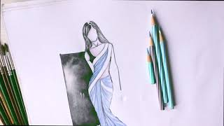 Watercolor and pencil fashion illustration, Saree illustration,