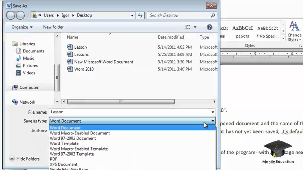 microsoft word 2010 saving a document in pdf format youtube