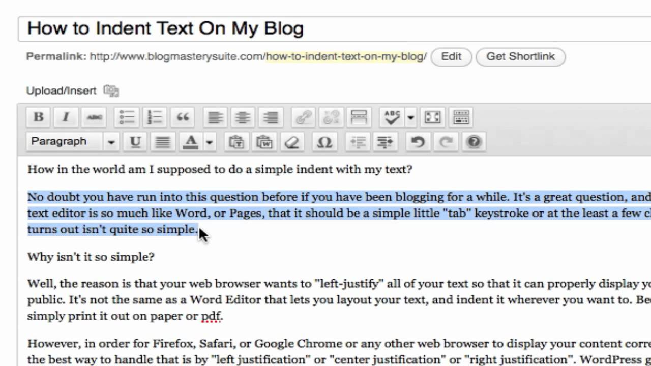 How To Indent The Text On My Wordpress Website