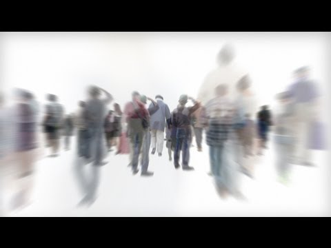 Isolated Crowd of People Walking Away with Alpha