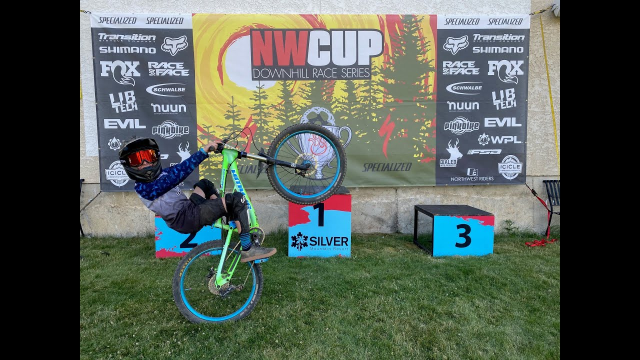 Kids downhill mountain bike race at Silver Mountain bike park NWCup Cat 3