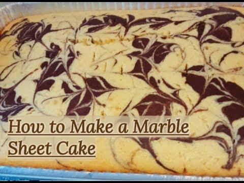 How To Make A Chocolate & Vanilla Marbleized Sheet Cake / MARBLE CAKE RECIPE