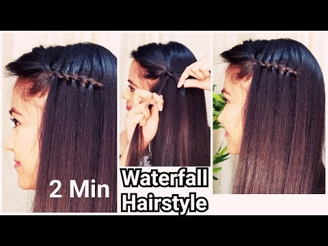 2 Min WATERFALL Hairstyle for Holidays//Indian Hairstyles for medium long hair/Hairstyle Diaries