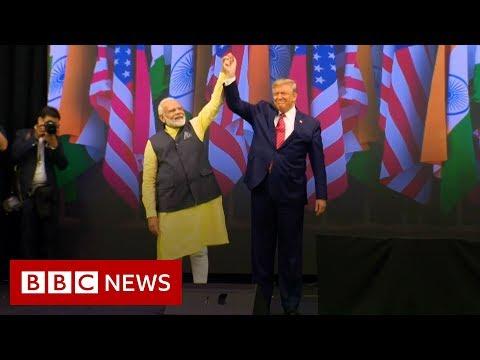 Trump praises Modi at 'historic' Texas rally - BBC News