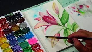 Цветок Лилии || Акварельная техника