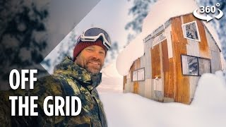 Living Off The Grid In A Snowboarder's Tiny Cabin (360 Video) thumbnail