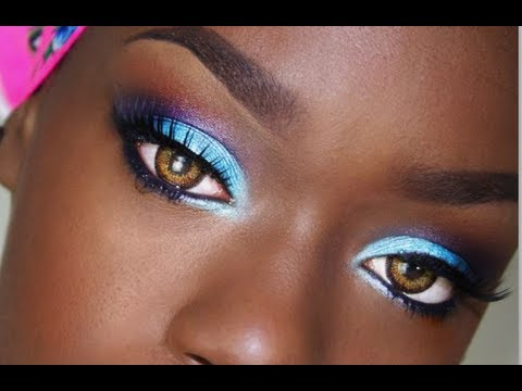 Blue Purple Eyeshadow Tutorial Easy Retro Black Barbie
