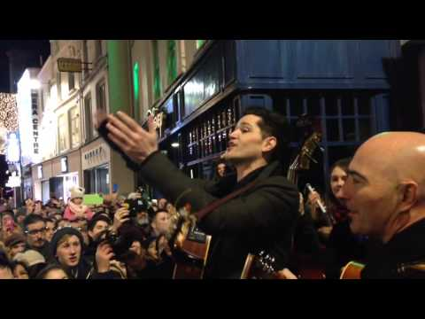 The Script busk on Grafton street singing for the first time