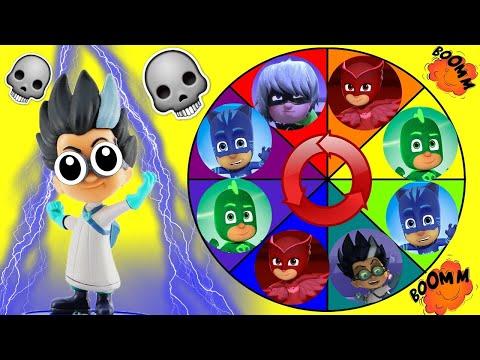 PJ Masks Spin the Wheel Game where Owelette, Catboy, Gekko, Romeo & Luna Girl get Toy Surprises!