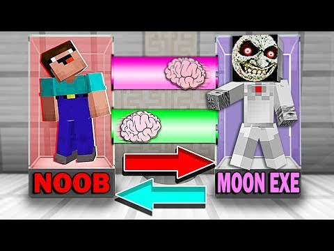 Minecraft NOOB Vs PRO : BRAIN EXCHANGE! NOOB BECAME A LUNAR MOON EXE In Minecraft! Animation!