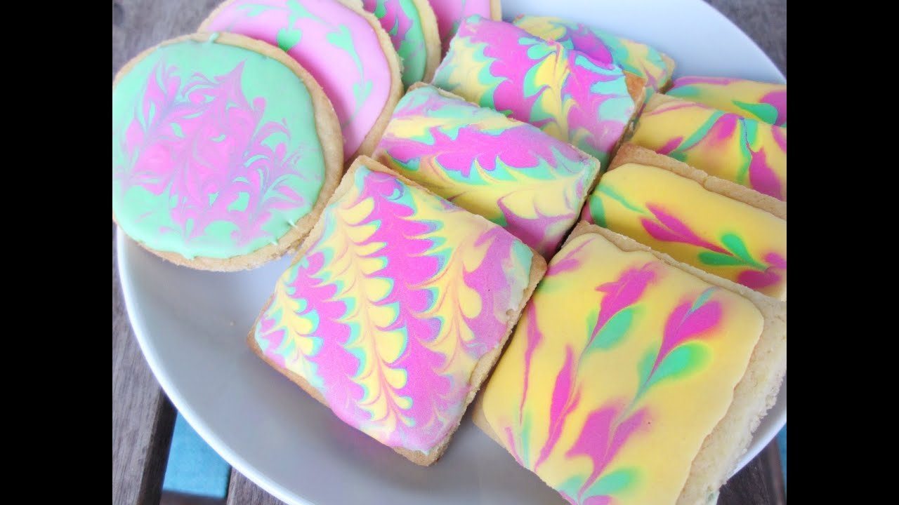 Royal Icing Marbled Hippie Cookie Diy Tutorial Youtube