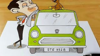 how to draw mr bean | 3d drawing of mr bean