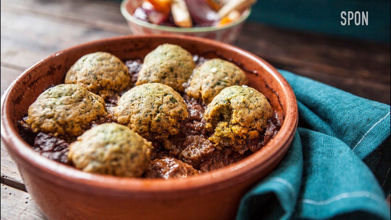 Beef Stew with Spinach Dumplings Recipe | Rennie Myster... | Doovi