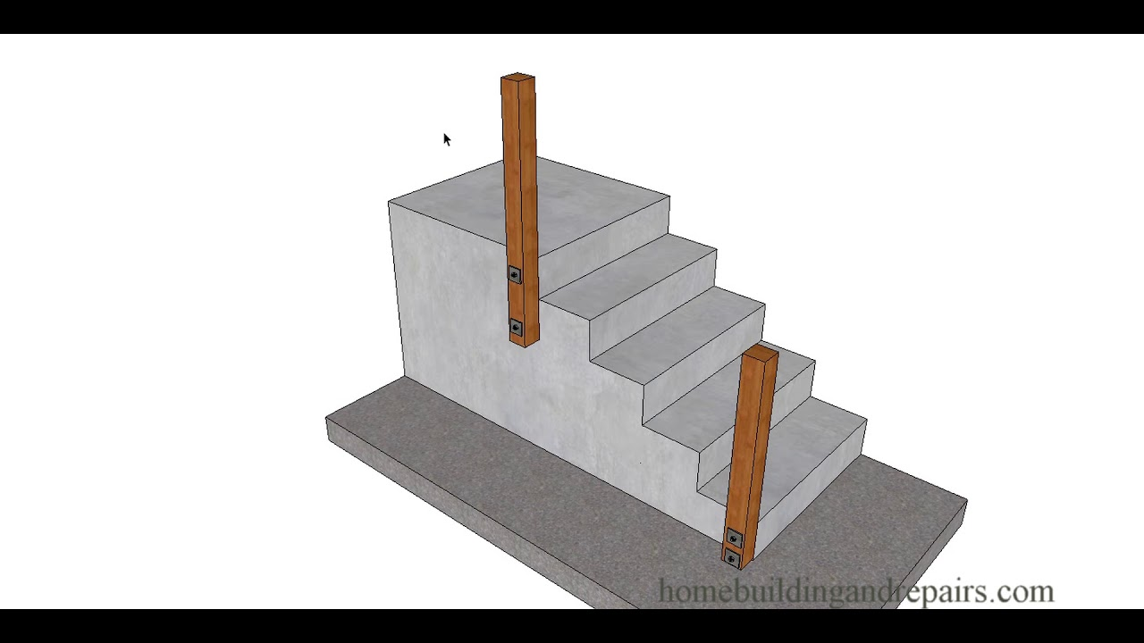 Bolting Wood Handrail Post To New Concrete Stairs Can Make Handrail Stronger