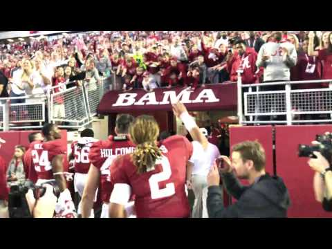 Jog off the field with fired up Jalen Hurts after Alabama beats Texas A M