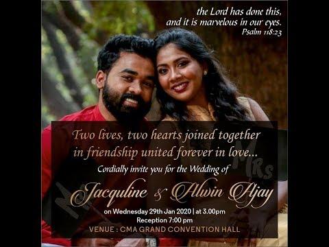 Alwin Ajay & Jacquline Grace  wedding Live  @ Banglore   Jebamtv Live