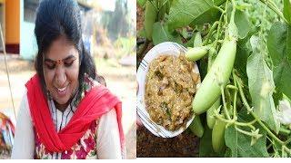 BRINJAL CHUTNEY RECIPE / FARM FRESH BRINJAL / HEALTHY VILLAGE FOOD