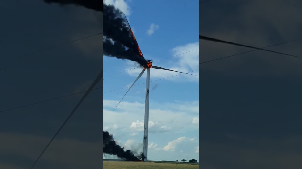 Dramatic Footage shows Wind Turbine Burning Down in Texas