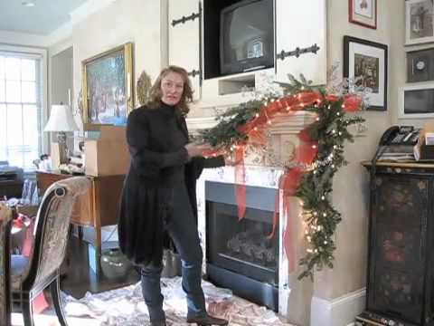how to place ribbon on mantle garland christmas