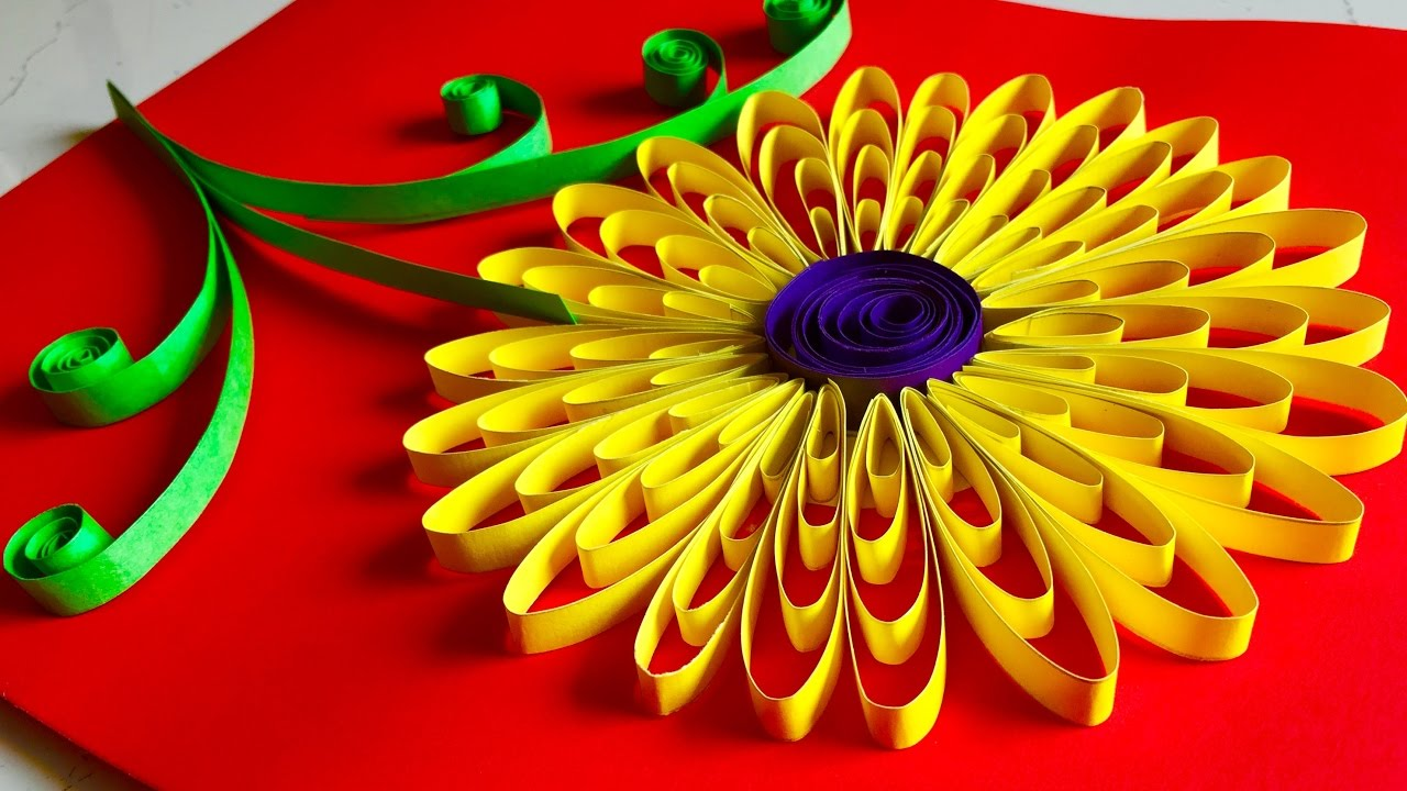Quilling flowers tutorial sunflower paper quelling for Art and craft for wall decoration