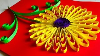 Quilling flowers tutorial - Sunflower | Paper Quilling wall hanging decoration - Arts and crafts